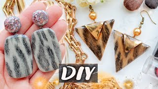 AWESOME Earrings with LEOPARD Print and Epoxy Resin ▼ EASY DIY