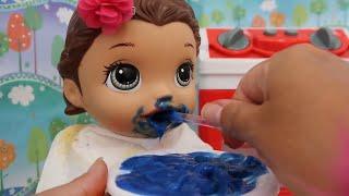 COMIDINHA PARA BONECAS PAPINHA CREMOSA E BLUEBERRY DE CHOCOLATE BABY ALIVE AMANDINHA
