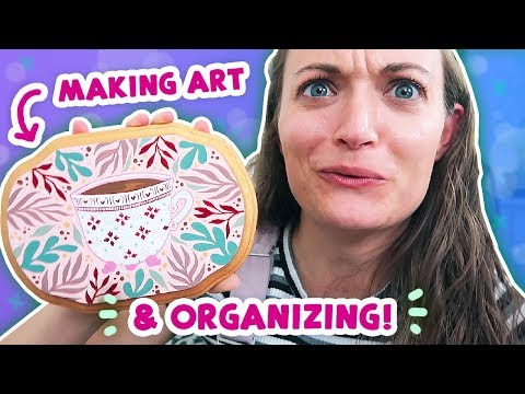 Organizing my Art Studio, Drawing in my Sketchbook, and PAINTING! thumbnail