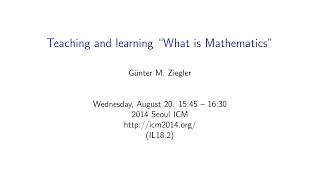 ICM2014 VideoSeries IL18.2: Gunter M. Ziegler on Aug20Wed