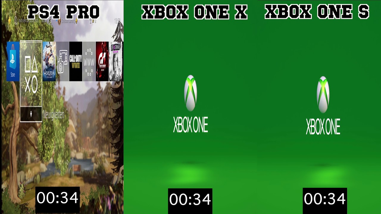 Ps4 Pro - Xbox One X - Xbox One S Boot Time Comparison