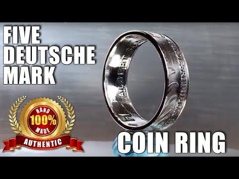 5 Deutsche Mark coin ring. Coin to Ring
