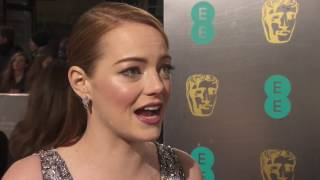 La La Land's Emma Stone on the Bafta Awards red carpet 2017