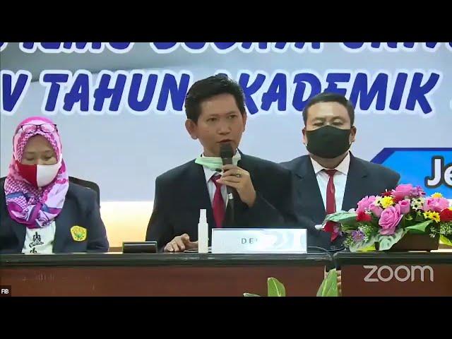 Sambutan dekan Prof  Dr  AKHMAD SOFYAN, M Hum  Yudisium FIB Unej Periode V 2019 2020