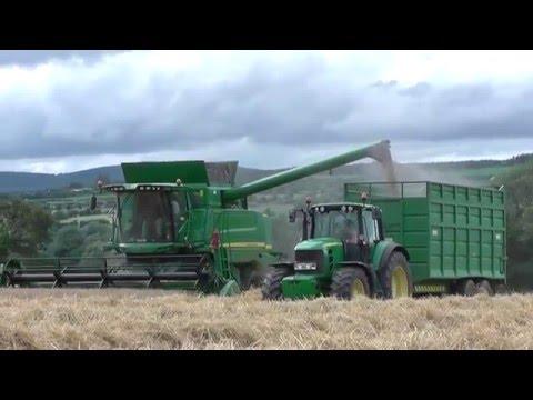 Harvest 2015 - 2 John Deere T560 HillMaster Combine Harvesters