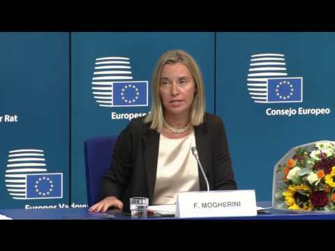 Press conference of President Van Rompuy with Donald Tusk and Federica Mogherini