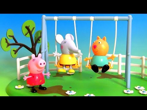 Peppa Pig Swing Playground Playset Toy Review using Play Doh Muddy Puddles by DisneyCollector
