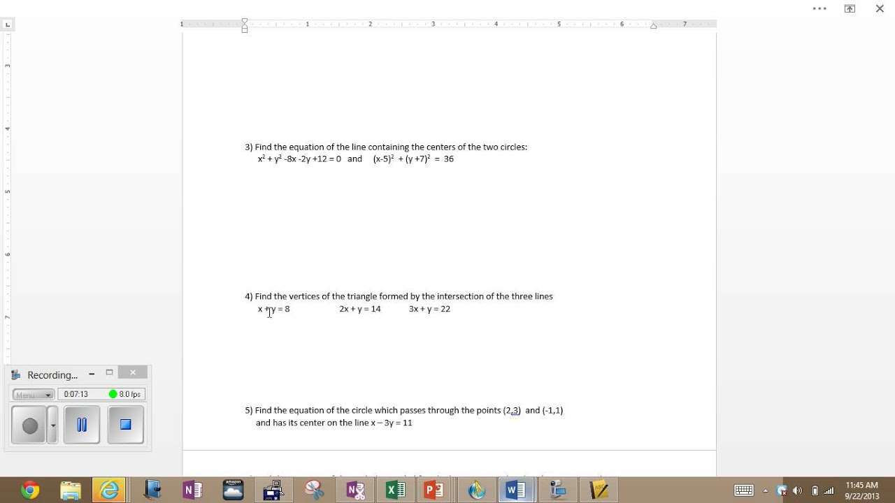 Equations Of Circles Worksheet C Youtube