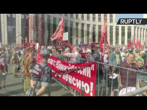 Moscou : manifestation contre la réforme des retraites organisée par le parti communiste