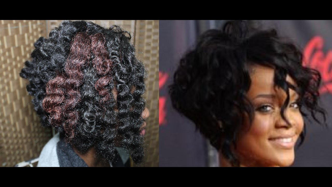 Crochet Hair Cut : Rihanna Inspired Angled Cut Bob On Crochet Braids - YouTube