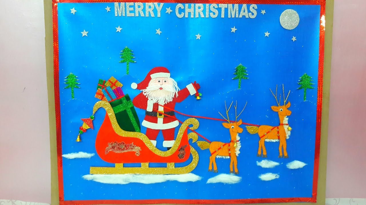 CHRISTMAS CHART/SANTA CLAUS ON SLEIGH - PAPER PAINTING/ DRAWING - YouTube