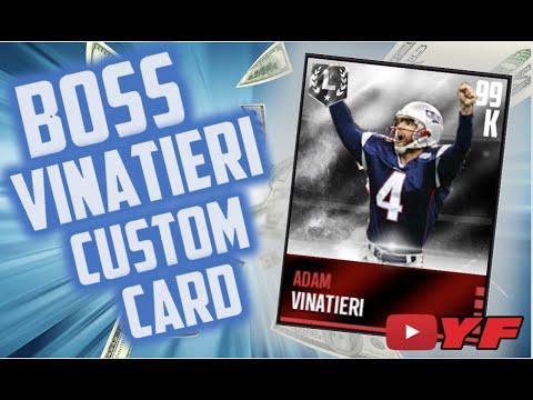 BOSS ADAM VINATIERI CUSTOM CARD!!! MADDEN MOBILE CUSTOM CARD TIMELAPSE!!!