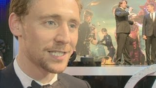 Tom Hiddleston talks about hugging and being in the Marvel Avengers Assemble film
