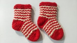 Knitting  Design Very Easy Baby Shocks, Shoes  (booties)
