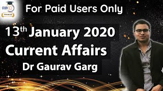 13 January 2020 Current Affairs in ENGLISH by Dr Gaurav Garg