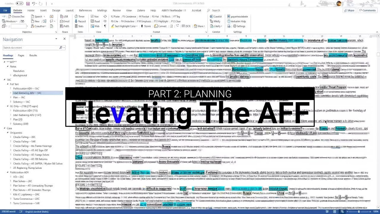Elevating the AFF, Part 2---Planning