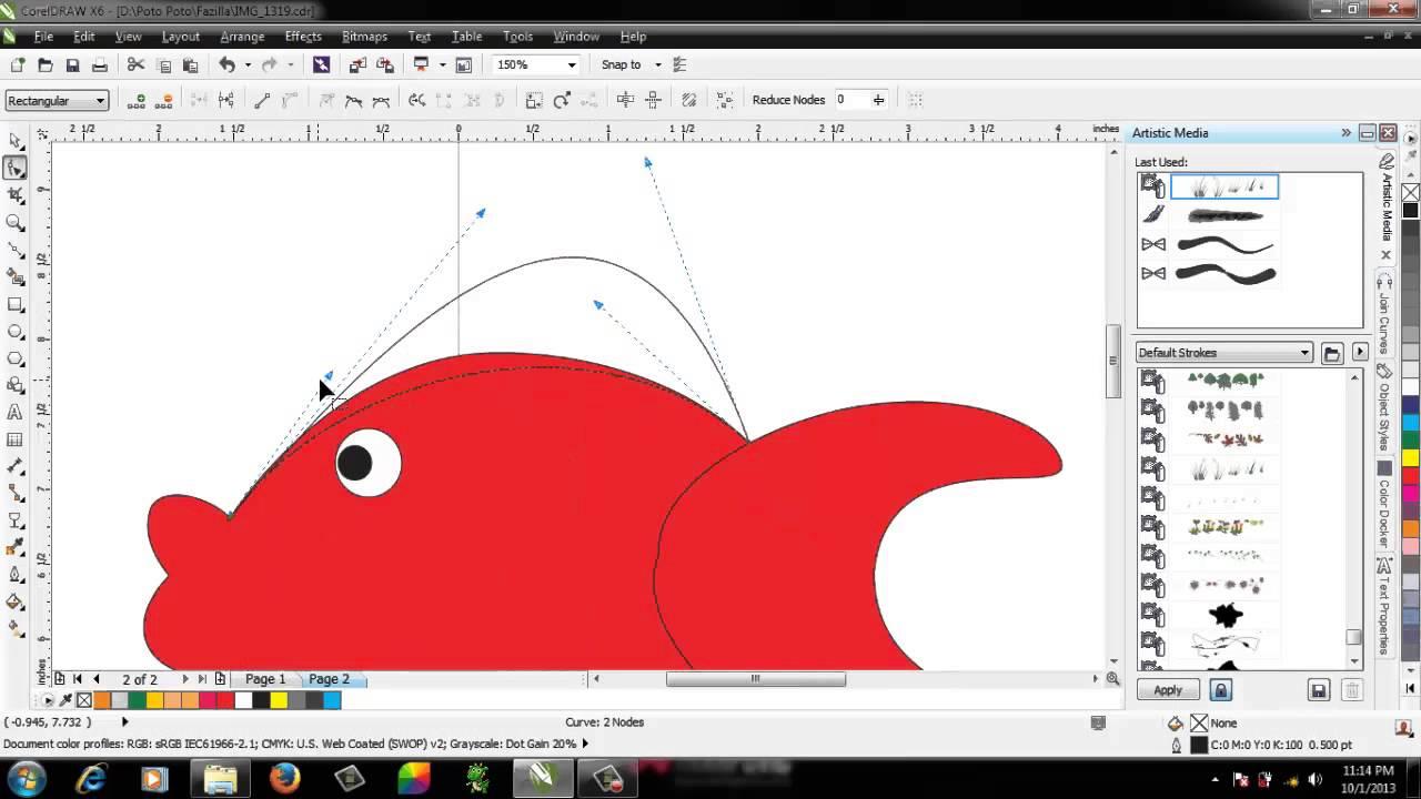 Tutorial corel Draw Menggambar Kartun Ikan  YouTube