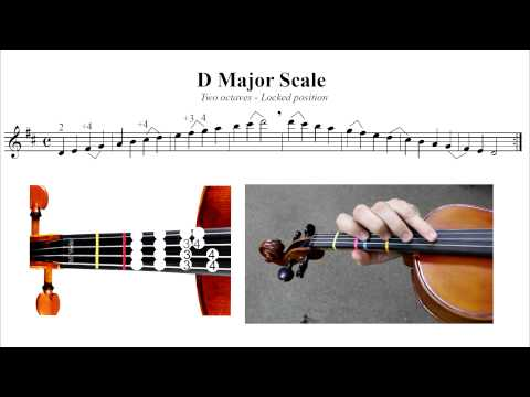 D major 2 octave scale Violin tutorial (locked 3rd position)
