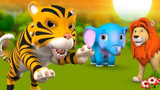 The Lion and The Tiger's Challenge - 3D Animated Hindi Kids Moral Stories शेर और बाघ की चुनौती Tales