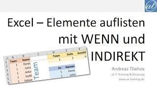 Excel # 441 - Elemente auflisten - WENN und INDIREKT