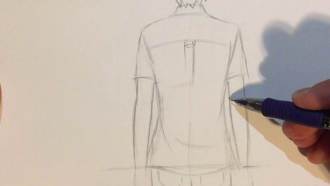 How to draw anime boy back view no timelapse youtube
