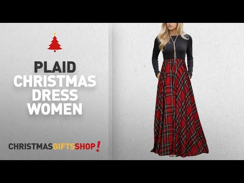 Top Plaid Christmas Dress Women Ideas: MEROKEETY Women's Plaid Long Sleeve Empire Waist Full Length