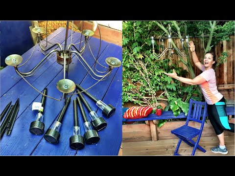 DIY Dollar Store Solar Light Garden Chandelier