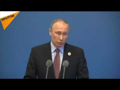 Putin addresses participants of the BeltAndRoad investment forum in Beijing.