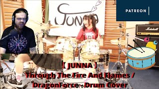 JUNNA - Through The Fire And Flames / DragonForce - Drum Cover | Reaction
