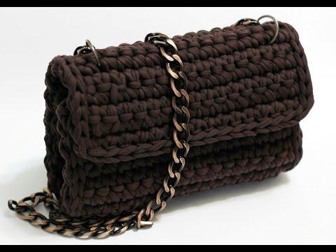 Очень простая сумка с боковушками из трикотажной пряжи Лента