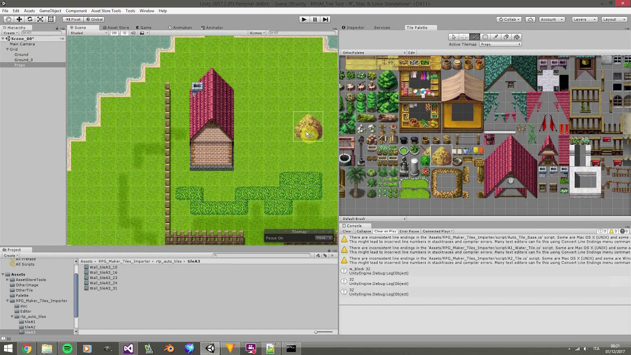 Unity3D RPG Maker tile set impoter tilemap time lapse game art word building