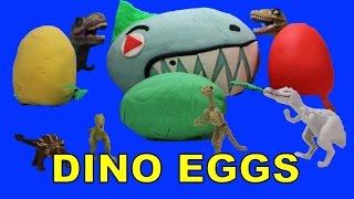 Dinosaur Eggs Surprise Play Doh   Dinosaurs Surprise Play Doh Eggs   Hatching Dinosaur Eggs