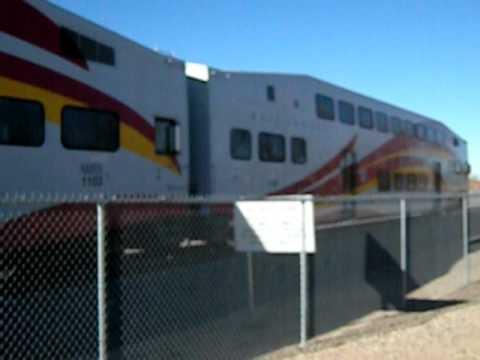 New Mexico Railrunner Express #514 departs Belen, NM