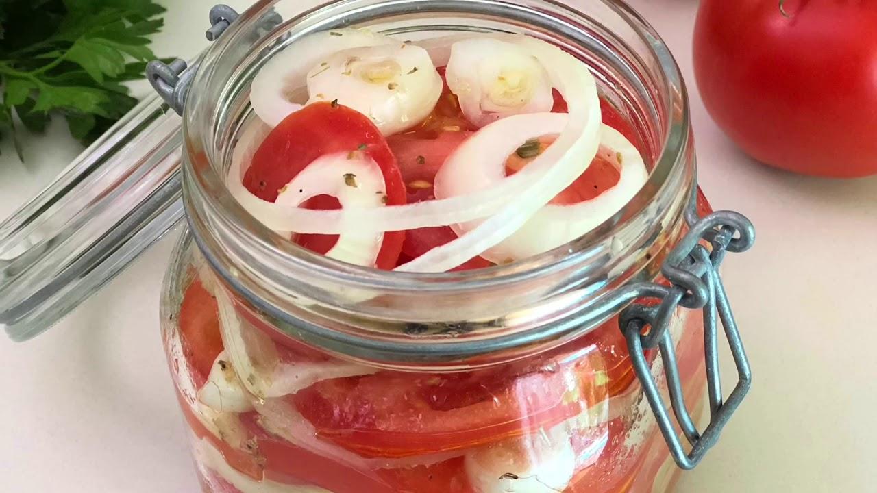 Очень Вкусная Закуска из помидоров и лука . Весь Секрет в Маринаде! Время поесть.