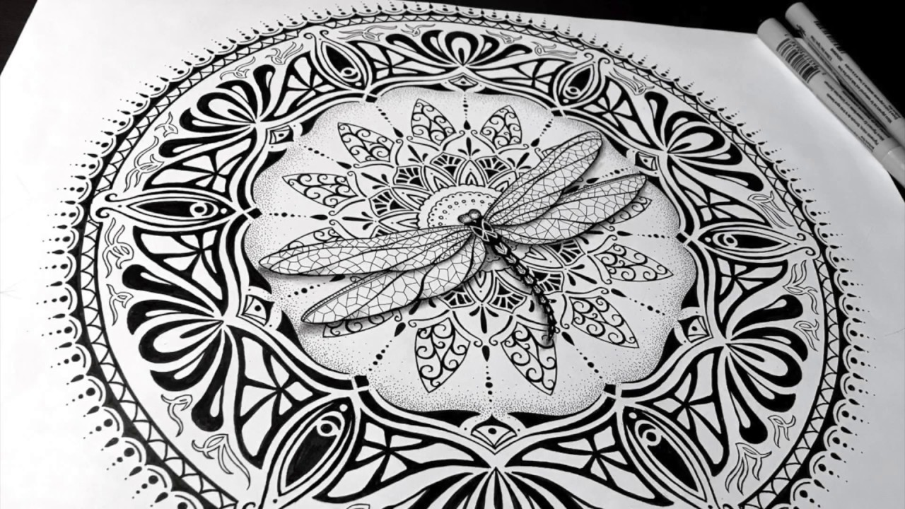 Speed drawing dragonfly mandala with a little art nouveau and art deco flare