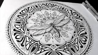 Speed Drawing : Dragonfly Mandala with a little art nouveau and art deco flare!