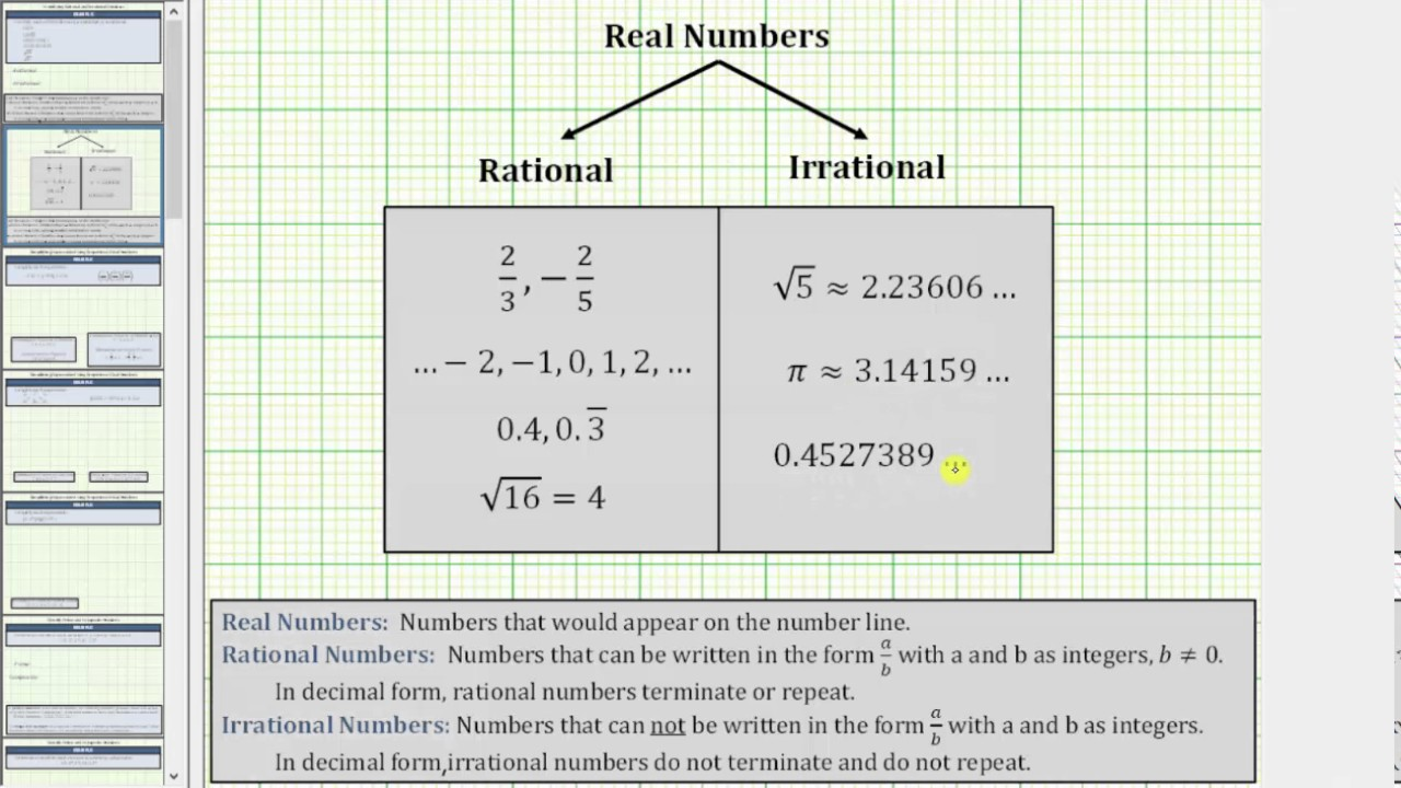 Determine Rational or Irrational Numbers (Square Roots and ...