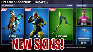 "🔴 NEW ITEM SHOP UPDATE | NEW ""FLUTTER"" & ""PILLAR"" SKINS in Fortnite Live"
