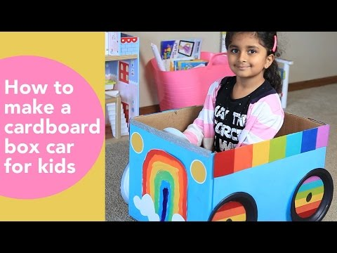 How to make a cardboard car for kids, DIY cardboard projects, kids rainbow craft