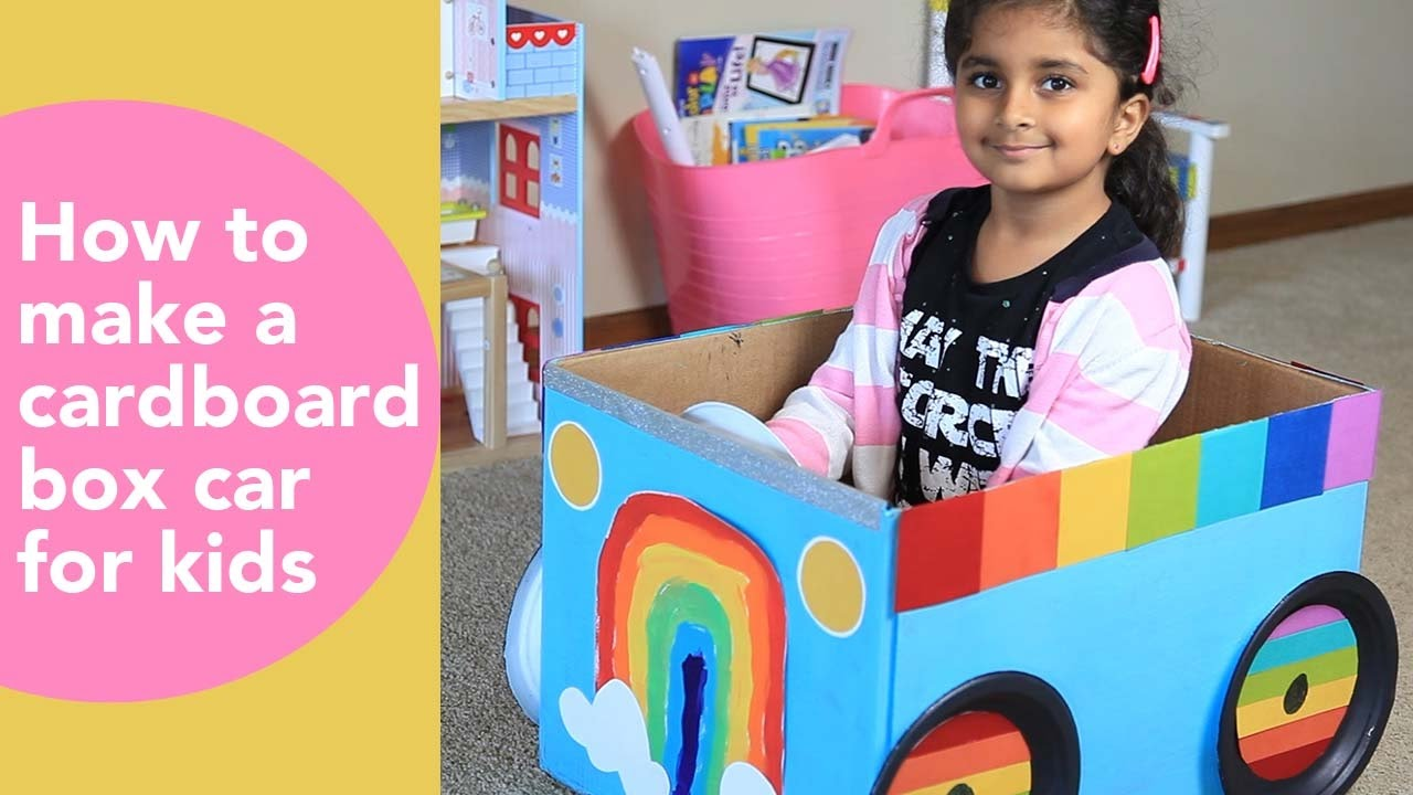 how to make a cardboard car for kids diy cardboard projects kids rainbow craft youtube. Black Bedroom Furniture Sets. Home Design Ideas