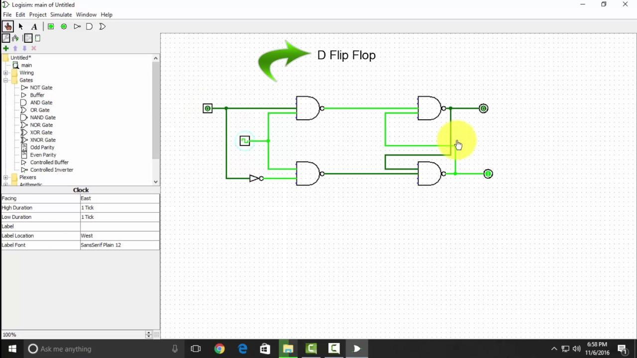 d flip flop using logisim [ 1280 x 720 Pixel ]