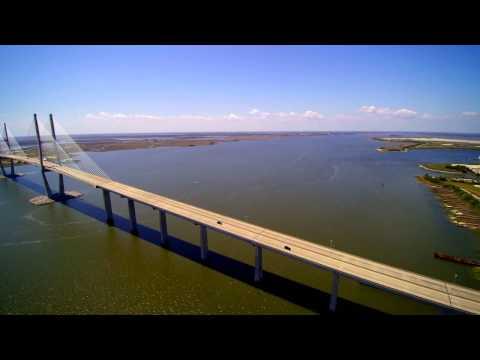 DRONE VIEWS OF THE SIDNEY LANIER BRIDGE, BRUNSWICK, GA