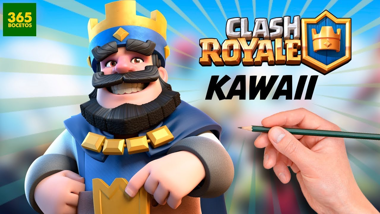 Como Dibujar A El Rey De Clash Royale Estilo Kawaii Youtube