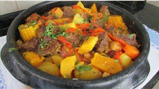 Cozido de Carne e Frango com Legumes e Grão de Bico