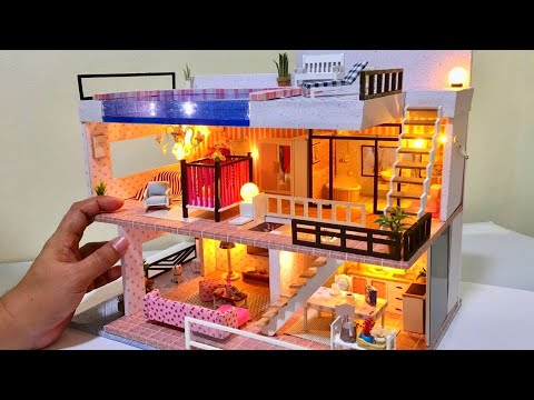 5 DIY Miniature Dollhouse Rooms 3Storey Barbie Mansion Dreamhouse