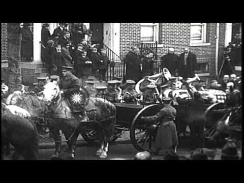 The funeral procession of Surgeon General of the US Army William Gorgas moves alo...HD Stock Footage