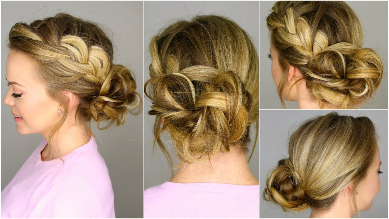 French Braid into Messy Bun - YouTube