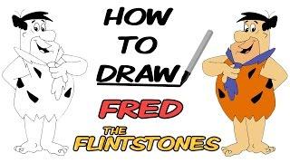How To Draw Fred Flintstone - The Flintstones - Cartoons | Speed Drawing