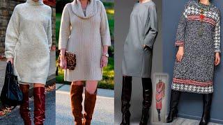 ШИКАРНЫЕ ОБРАЗЫ ПЛАТЬЯ С САПОГАМИ мода для женщин за 50