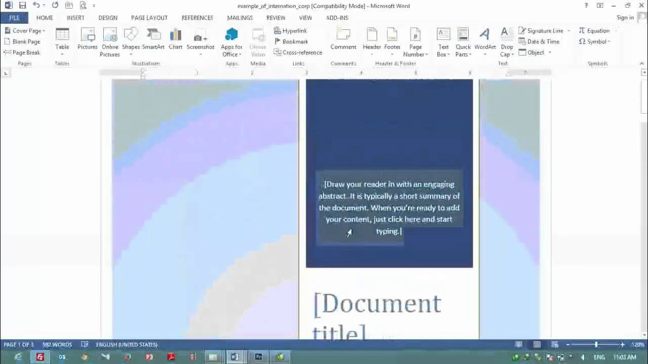 7 How to make Cover Page in Ms Word 2013 for Design purpose - YouTube